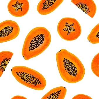 Hand gezeichnetes nahtloses musterdesign der papayafrucht auf weißem hintergrund