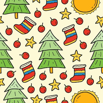 Hand gezeichnetes nahtloses musterdesign der weihnachtsgekritzelkarikatur