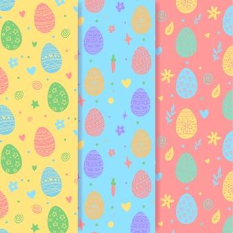 Hand gezeichnetes nahtloses ostermuster mit bunten eiern