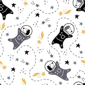 Hand gezeichnetes nahtloses raummuster mit stern-, kometen-, hundastronautenelement. gekritzelartillustration.