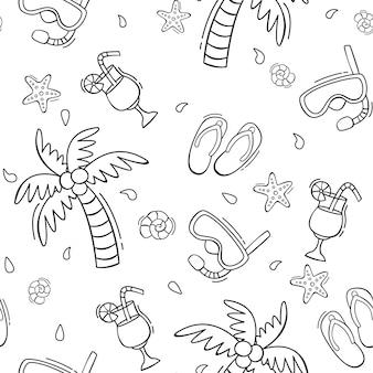 Hand gezeichnetes nahtloses sommermuster mit tauchmaske des palmencocktail-flipflops im gekritzelstil