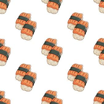 Hand gezeichnetes nahtloses sushi-muster