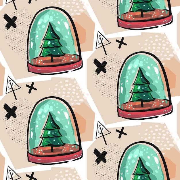 Hand gezeichnetes nahtloses weihnachtsdekorationsmuster mit bunter schneekugelillustration mit weihnachtsbäumen, schnee, kreuzen und geometrischen abstrakten elementen. weihnachtsdekorationshintergrund.