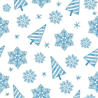 Hand gezeichnetes nahtloses weihnachtswintermuster, hintergrund. schneeflocken, weihnachtsbäume. blaue farbe