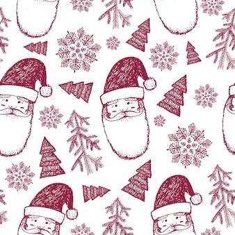 Hand gezeichnetes nahtloses weihnachtswintermuster, hintergrund. schneeflocken, weihnachtsmann, weihnachtsbaumillustration