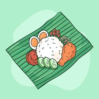 Hand gezeichnetes nasi-lemak-essen dargestellt