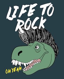 Hand gezeichnetes nettes dinosauriervektordesign für t-shirt druck