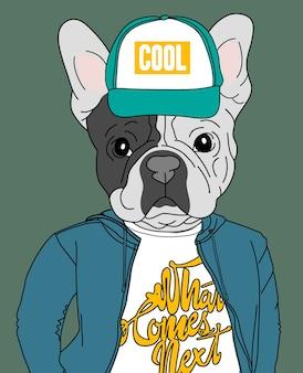 Hand gezeichnetes nettes hundevektordesign für t-shirt drucken