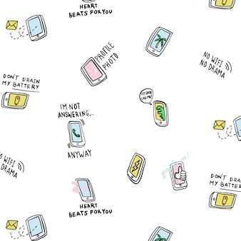 Hand gezeichnetes nettes intelligentes telefonmuster