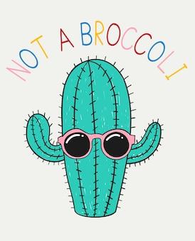 Hand gezeichnetes nettes kaktusvektordesign für t-shirt drucken