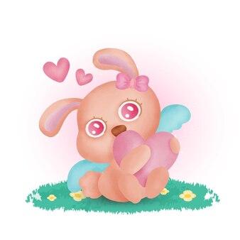 Hand gezeichnetes nettes kaninchen, das ein herz hält.
