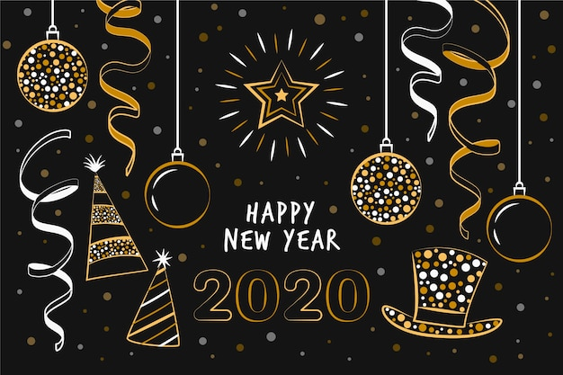 Hand gezeichnetes neues jahr 2020