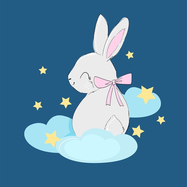 Hand gezeichnetes niedliches kaninchen auf der mondillustration