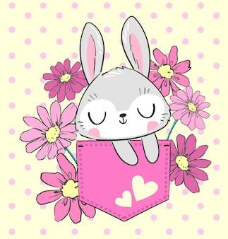 Hand gezeichnetes niedliches kaninchen und rosa blumen in der tasche. schöner designdruck für textilien, t-shirts. illustration.