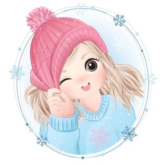 Hand gezeichnetes niedliches kleines mädchen mit aquarellillustration