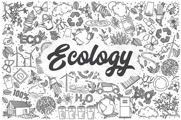 Hand gezeichnetes ökologie-gekritzel-satz. schriftzug - ökologie