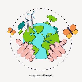 Hand gezeichnetes ökologiekonzept mit natürlichen elementen