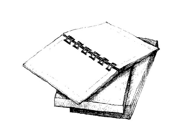 Hand gezeichnetes offenes notizbuch auf stapel büchern