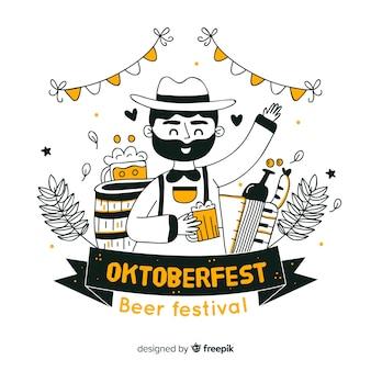 Hand gezeichnetes oktoberfest bierfestival