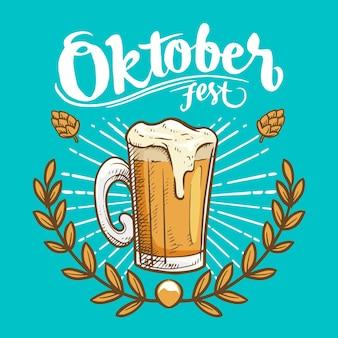 Hand gezeichnetes oktoberfest mit pint
