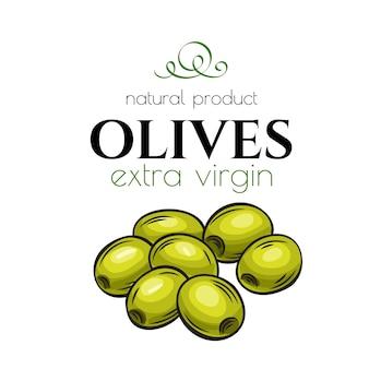 Hand gezeichnetes olivenikonenabzeichen