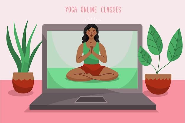 Hand gezeichnetes online-yoga-klassenkonzept