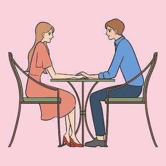 Hand gezeichnetes paar auf romantischem datum valentinsgrußkarikatur