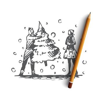 Hand gezeichnetes paar mit weihnachtsbaum