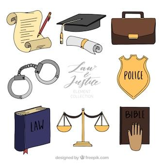 Hand gezeichnetes paket von gesetzes- und gerechtigkeitselementen