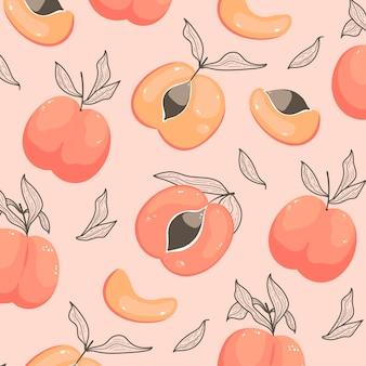 Hand gezeichnetes pfirsichmuster