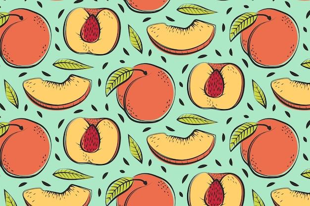 Hand gezeichnetes pfirsichmusterdesign