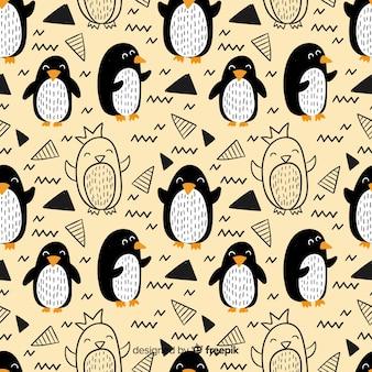 Hand gezeichnetes pinguin-gekritzelmuster