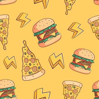 Hand gezeichnetes pizzastück und burger nahtloses muster