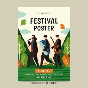Hand gezeichnetes plakat für musikfest