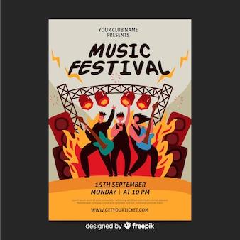 Hand gezeichnetes plakat für rockfestival