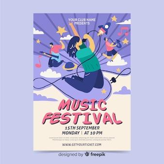 Hand gezeichnetes plakat für rockmusikfestival