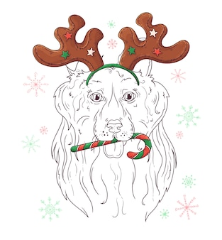 Hand gezeichnetes porträt des colliehundes im weihnachten