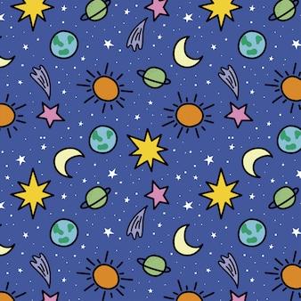 Hand gezeichnetes räumliches muster mit planeten und sternen