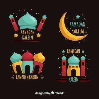 Hand gezeichnetes ramadan-abzeichen collectio