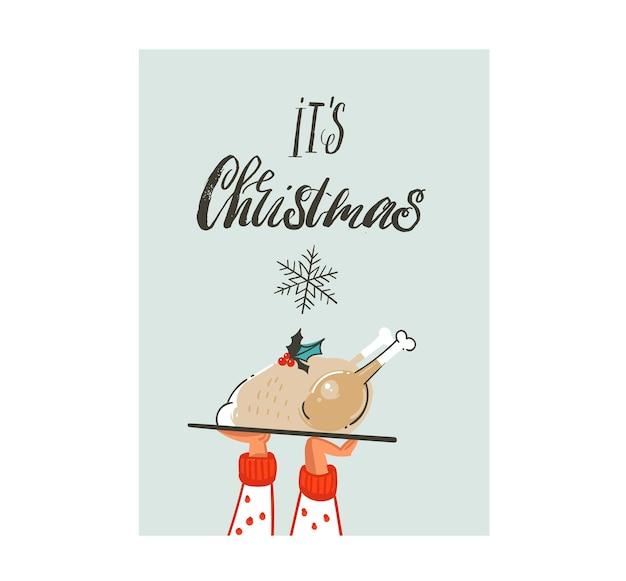 Hand gezeichnetes raues freihandgrafikgruß-gestaltungselement der frohen weihnachten Premium Vektoren
