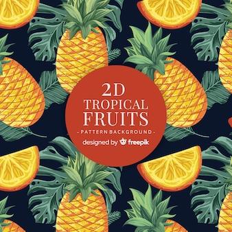 Hand gezeichnetes realistisches muster der tropischen frucht