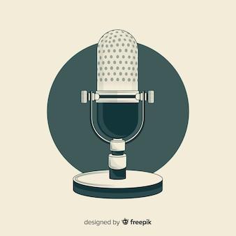 Hand gezeichnetes realistisches retro- mikrofon