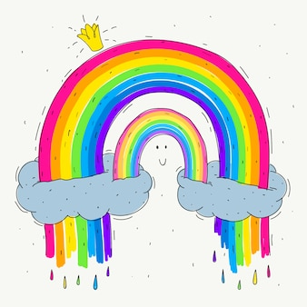 Hand gezeichnetes regenbogenkonzept