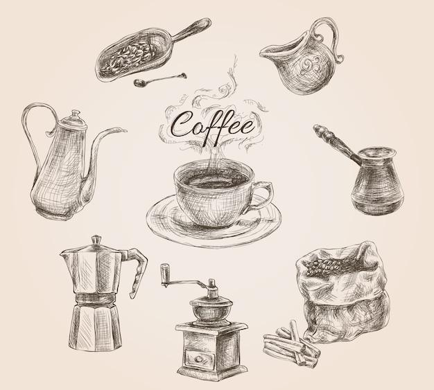 Hand gezeichnetes retro- kaffeeset