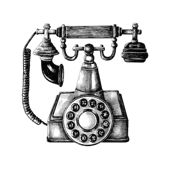 Hand gezeichnetes retro- linie telefon