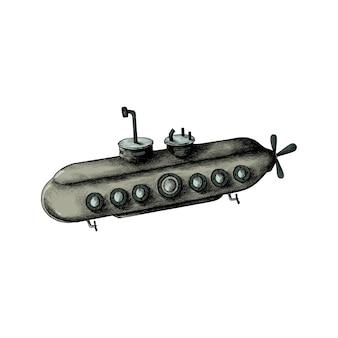 Hand gezeichnetes retro- unterseeboot