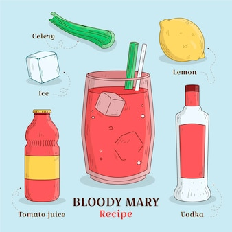 Hand gezeichnetes rezept bloody mary
