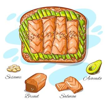 Hand gezeichnetes rezept von lachs und avocado