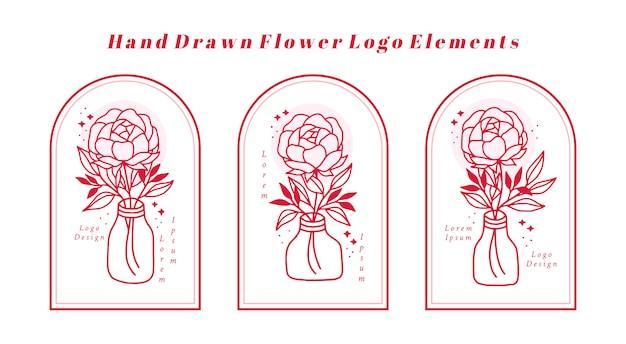 Hand gezeichnetes rosa botanisches pfingstrosenblumenelement für weibliches schönheitslogo