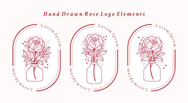 Hand gezeichnetes rosa botanisches rosenblumenelement für weibliches schönheitslogo